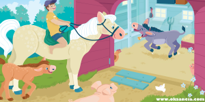 Animals at the barn - vector illustration by Oksancia