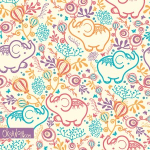 Elephants With Bouquets - seamless pattern design by Oksancia