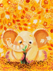 Gardening - Rondy The Elephant series - acrylic painting by Oksancia