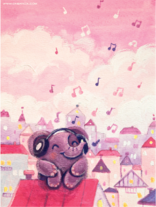 Music Lover - Rondy The Elephant series - acrylic painting by Oksancia