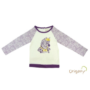 Zebra with binoculars safari print for Origany children's clothing company with textile design by Oksancia