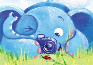Photographer - Rondy The Elephant series - acrylic painting by Oksancia