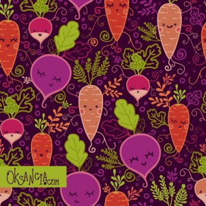 Fun Root Vegetables - seamless pattern design by Oksancia