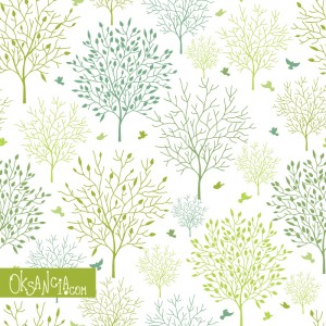 Spring Trees - seamless pattern design by Oksancia