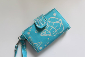 Under the sea handmade wallet with Oksancia's fabric design for Cari Slings Babywearing - outside - limited edition