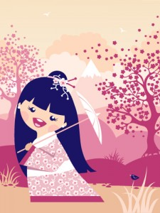 Japanese Girl With Umbrella - vector illustration by Oksancia