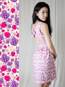 Strawberry fabric design on a dress by Vivat Veritas - seamless pattern design by Oksancia