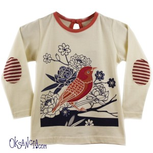 Birds and flowers shirt print desing for Origany children's clothing line - placement print by Oksancia