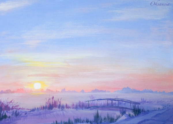 paintings winter landscapes acryclic painting soft