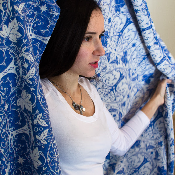 Oksancia textile designer with Mithril fabric wrap she designed - portrait