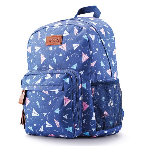 Backpack with vector repeating pattern designed by Oksancia with paper airplanes for customer Hessa Bags