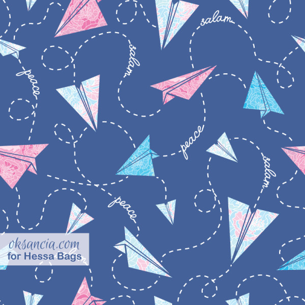 Vector repeating pattern designed by Oksancia with paper airplanes for customer Hessa Bags