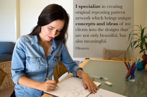 Oksancia - artist and textile designer is drawing a sketch for a pattern