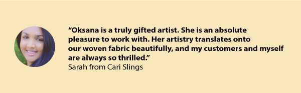 Cari Slings testimonial for Oksancia freelance textile design services