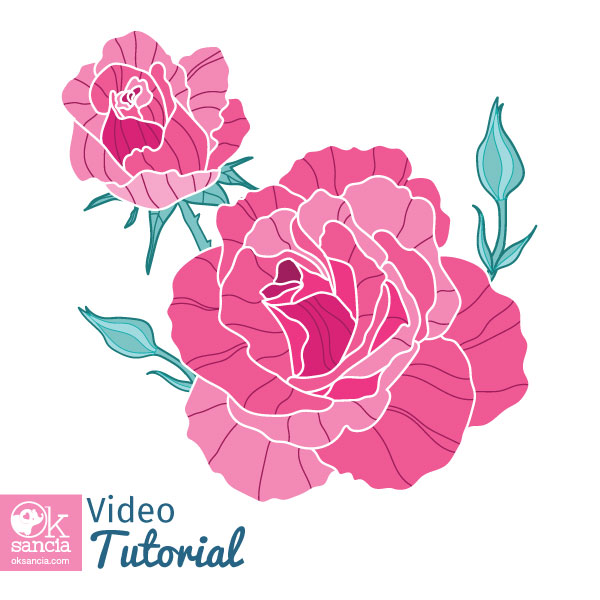 LIVE Tutorial: How to Draw Roses in Adobe Illustrator CC. Vector Repeat Pattern Design for Textile by Oksancia