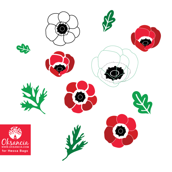 Sketch and element development for Poppy flowers and leaves vector repeat pattern by Oksancia